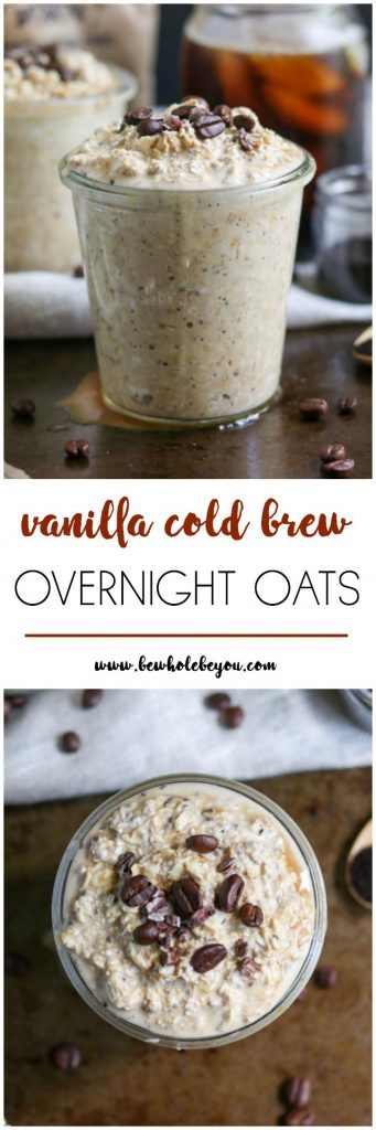 Your cup of coffee doesn't have to be the only way you get your morning joe. These overnight oats combine your favorite breakfast drink with hearty oats. Not your average cold brew! Bewholebeyou.com