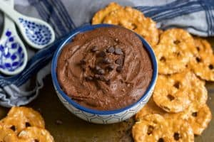 Sea Salt + Chocolate Hummus takes your favorite chickpea to a whole new sweet level. Packed with protein but also rich chocolatey flavor that everyone will love. lemonsandzest.com