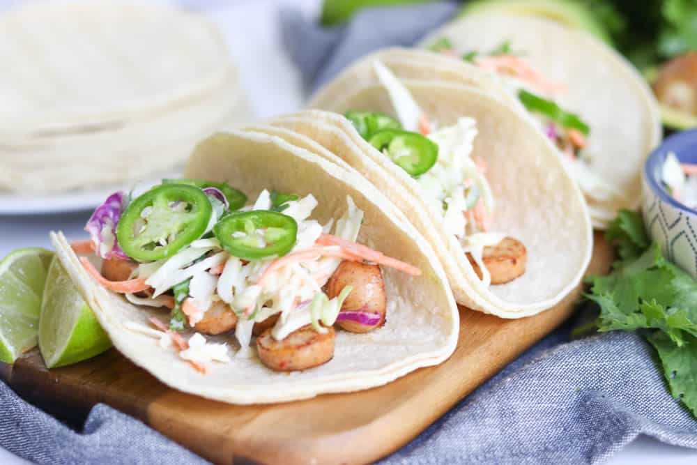 Spicy Sausage Tacos with Simple Slaw