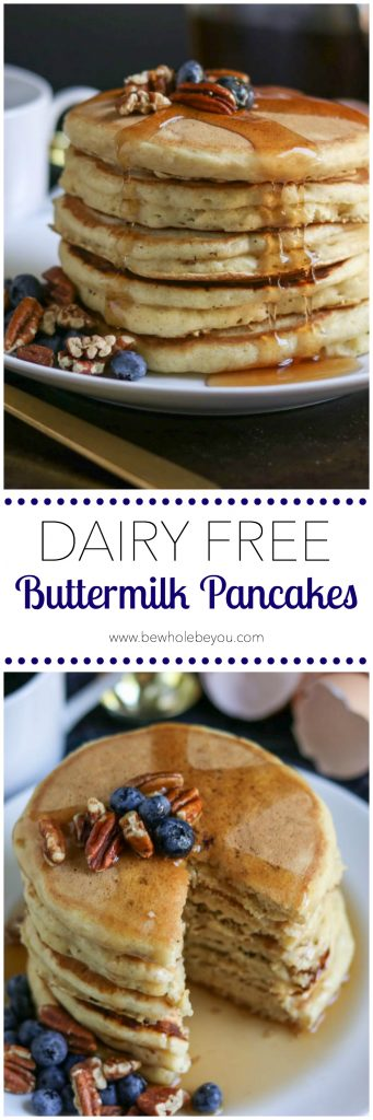 Dairy Free Buttermilk Pancakes. Dairy free and buttermilk? You can still have these fluffy pancakes for breakfast without the dairy! www.lemonsandzest.com