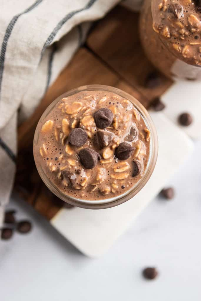 Overhead shot of chocolate overnight oats with chocolate chips.