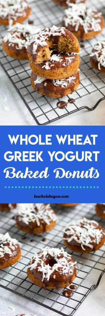 Whole Wheat Greek Yogurt Baked Donuts. Baked Whole Wheat donuts with a rich chocolate glaze, Greek Yogurt and your favorite donut toppings! Breakfast fun for everyone! #donuts #breakfast #chocolate