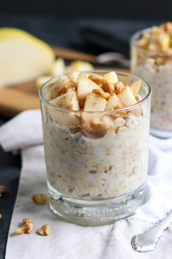 Fall is in the air and these Spiced Pear and Walnut Overnight Oats are the perfect way to welcome the season. Maple sweetened and full of hearty rolled oats, your morning will be off to the perfect start with this make ahead breakfast! lemonsandzest.com
