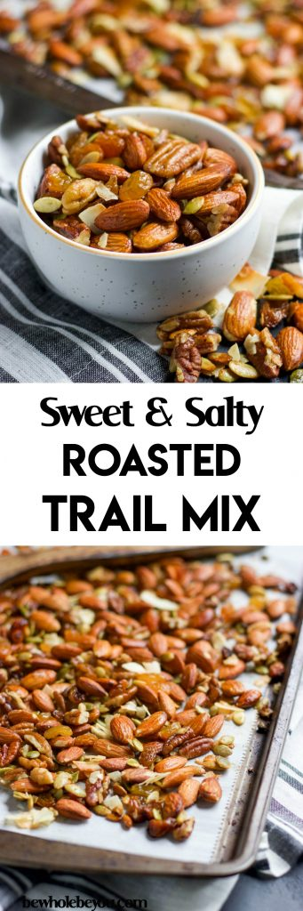 Sweet and Salty Roasted Trail Mix. Give your average trail mix a big boost with this sweet and salty roasted version. A hint of maple and vanilla, along with sea salt make the perfect snack, even when you aren't on the trail! lemonsandzest.com