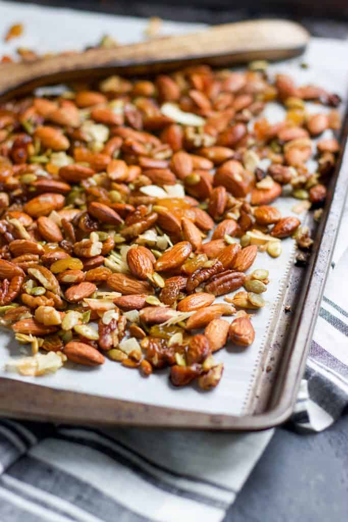 Sweet and Salty Roasted Trail Mix. Give your average trial mix a big boost with this sweet and salty roasted version. A hint of maple and vanilla, along with sea salt make the perfect snack, even when you aren't on the trail! lemonsandzest.com