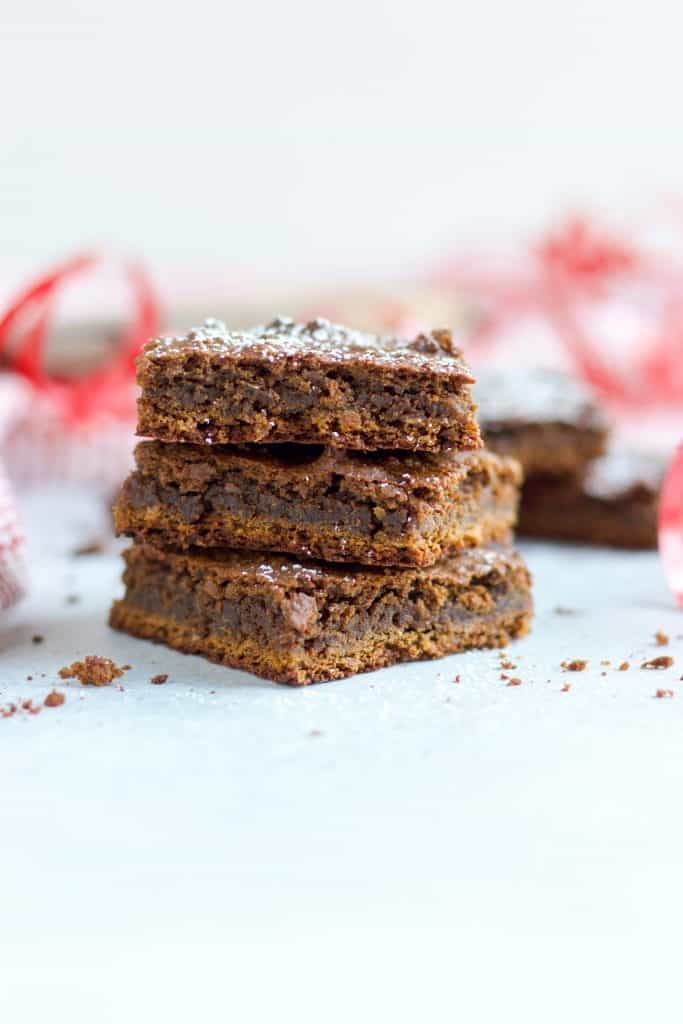 Gingerbread Chickpea Blondies. This is not your average gingerbread treat, but the chewy bars will be a hit. Rich molasses and ginger spices with wholesome chickpeas and no one will know!