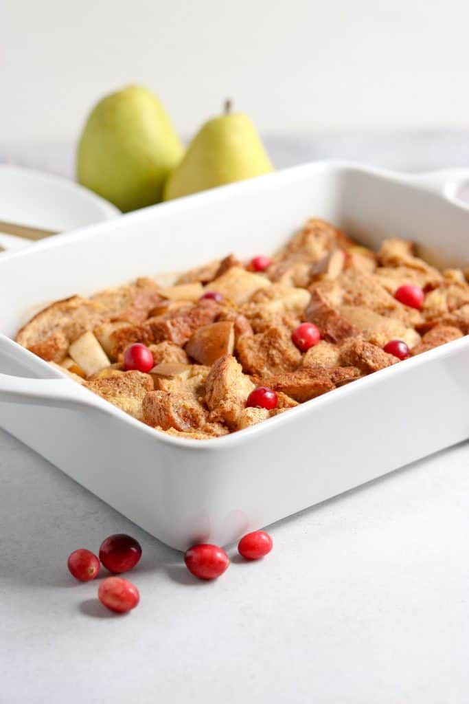 Spiced Pear French Toast Casserole. Make brunch extra special with this simple yet tasty dish. Juicy pears and cinnamon all baked into a delicious French Toast casserole.