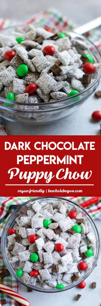 Dark Chocolate Peppermint Puppy Chow. Your favorite holiday treat with the taste of chocolate and peppermint. Add in some Mint M&M's to make it even more festive for Christmas!