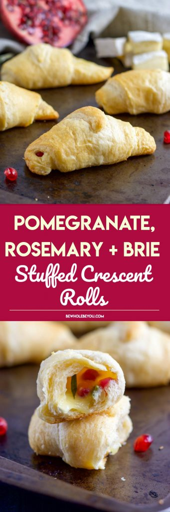 Skip the bread and butter! Add these Pomegranate, Rosemary and Brie Stuffed Crescent Rolls to your dinner and everyone will beg for seconds!