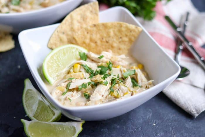 Slow Cooker Siracha Lime White Chicken Chili