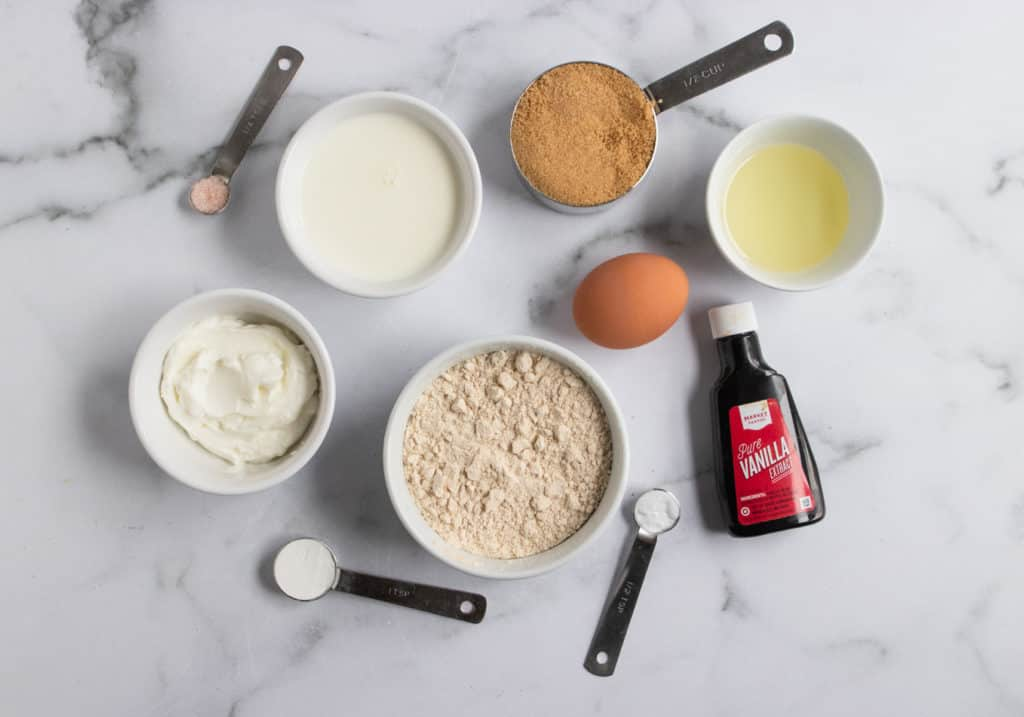 Ingredients needed to make donut recipe.