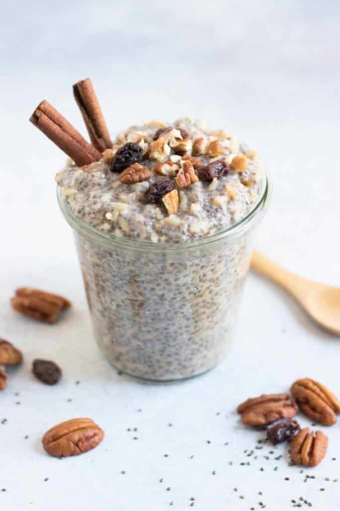 Maple Cinnamon Overnight Chia Pudding. Inspired by the Fertility Foods Cookbook. Sweet maple and a hint of cinnamon make this protein packed pudding the perfect treat or even breakfast! #chia #chiaseeds #chiapudding #chiaricepudding
