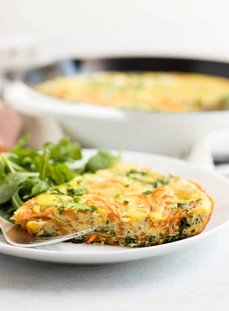 sweet potato arugula frittata