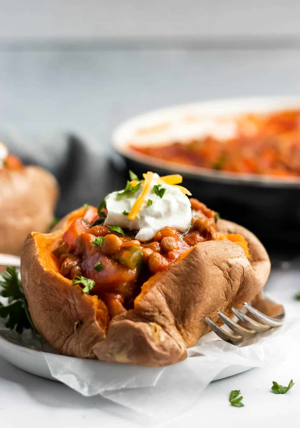 Lentils stuffed in sweet potato.