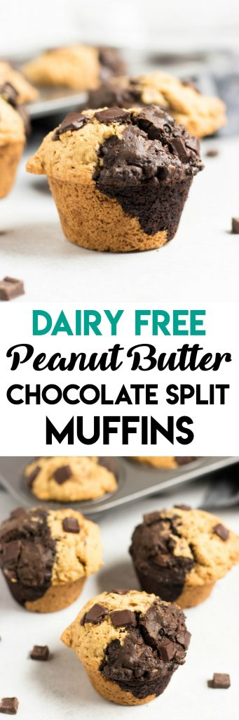 Dairy Free Peanut Butter Chocolate Split Muffins. Half double chocolate and half peanut butter, these dairy free muffins can satisfy your favorite combination! #muffins #dairyfree #peanutbutter #chocolate