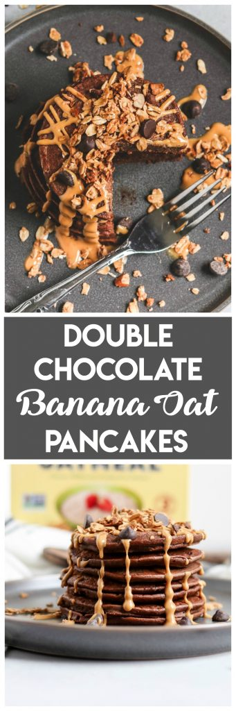 Double Chocolate Banana Oat Blender Pancakes. Chocolate for breakfast please! These double chocolate banana oat pancakes have the great taste of Flahavan's Irish Oats. What are your #OatGoals? #pancakes #sponsored #irishoats #breakfast