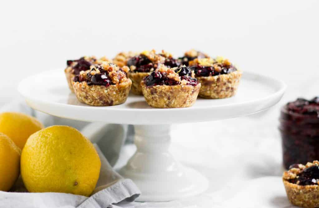 No Bake Blueberry Lemon Mini Tarts. Fresh lemon zest tops these chia blueberry jam bites of refreshing goodness. Simple and no bake will have everyone happy!