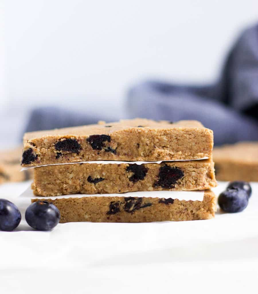 No Bake Blueberry Muffin Protein Bars.