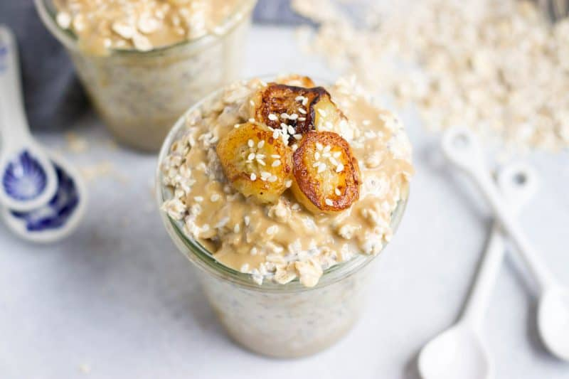 Maple Tahini Overnight Oats with Caramelized Bananas