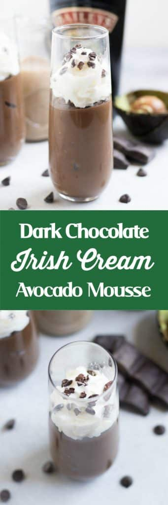 Dark Chocolate Irish Cream Avocado Mousse. Rich, chocolatey mousse and you will never know that it's avocado! Bailey's Irish Cream to celebrate St. Patrick's Day or any day you like! #mousse #avocado #stpatricksday