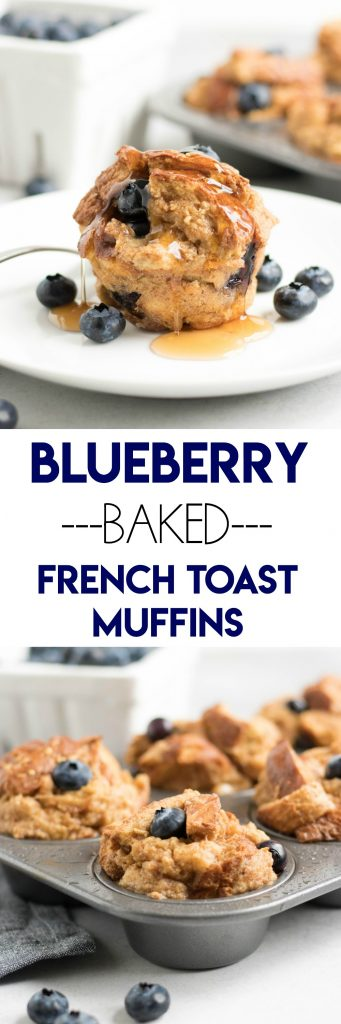 Blueberry Baked French Toast Muffins. French Toast in the form of muffins? Breakfast just upped its game big time. Juicy blueberries and a touch of maple. #frenchtoast #bakedfrenchtoast #breakfast #makeahead