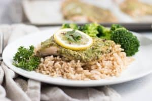 Cilantro Pesto Rainbow Trout. Dinner is so simple but far from average with this cilantro pesto. Flaky, fresh rainbow trout fresh from Plymouth Springs Fish farm to your table. #pesto #dinner #fish #trout
