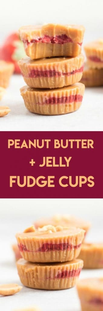 Peanut Butter + Jelly Fudge Cups. Rich creamy peanut butter and strawberry chia seed jam layer in these melt in your mouth treats. #peanutbutter #fudge #peanutbutterfudge #peanutbutterandjelly #chiaseeds #chiajam #strawberryjam #dessert #sweetreat #nobake