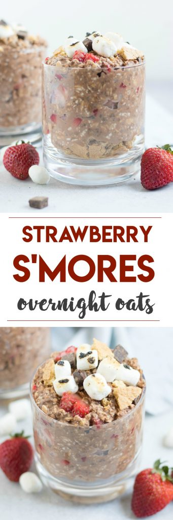 Strawberry S'mores Overnight Oats. Your favorite campfire treat for breakfast? Yes! Fresh strawberries, chocolate and even crushed graham crackers make this a fun make ahead breakfast! #overnightoats #smores #chocolate #oatmeal #dessertforbreakfast #breakfastrecipe