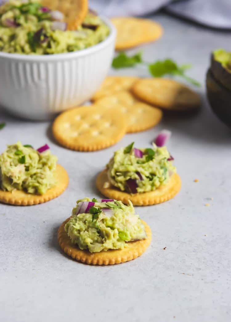 Tuna salad on crackers.