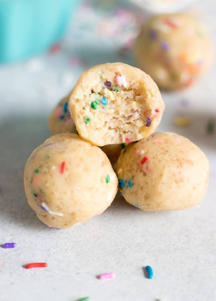 Edible funfetti cookie dough bites.