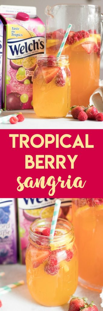 Tropical Berry Sangria. Refreshing and so simple to toss together. Bring the tropics to your home with Welch's Passion Fruit Juice Cocktail and let the party begin. #sangria #cocktails #tropical #passionfruit #welchs
