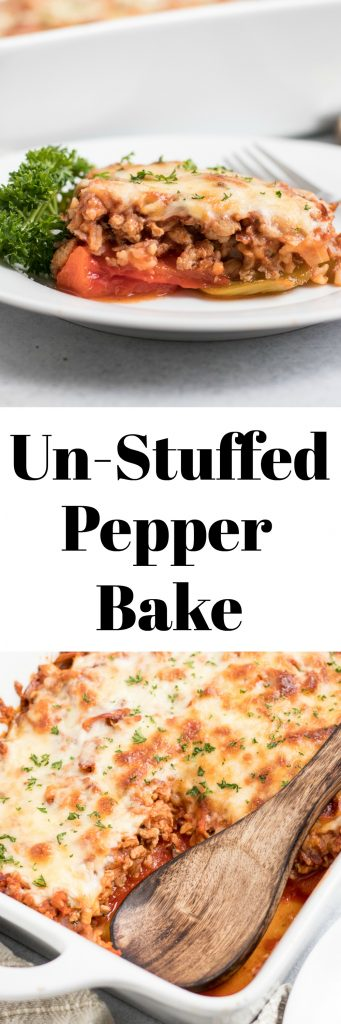 Un-Stuffed Pepper Bake. The best of stuffed bell peppers but without all of the work. This simple casserole makes for a perfect dinner the whole family will love. #dinner #bellpeppers #stuffedpeppers #unstuffedpeppers #stuffedpeppercasserole #casserole