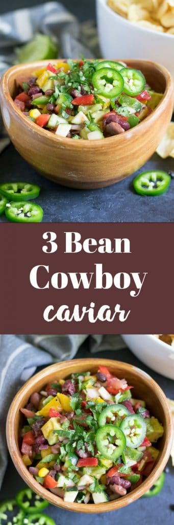 This chunky 3 Bean Cowboy Caviar is best of them all. It is packed with beans, peppers, cilantro, avocado, and spices and is a simple and healthy dip even when you are not in Texas! #chipsanddip #cowboycaviar #pulses #avocado #easyrecipe