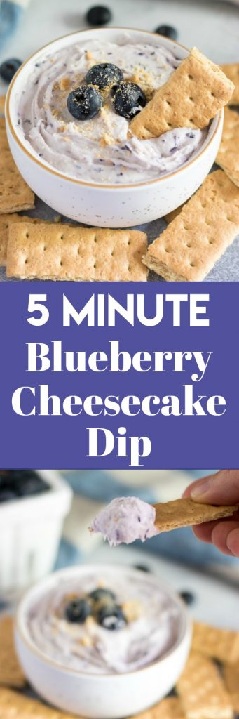 5 Minute Blueberry Cheesecake Dip. Get your graham crakcers ready! This light and fluffy dip is ready to go in just minutes. Perfect for an afternoon treat or for your next party! #dip #cheesecake #nobake #dessert #sweettreat #blueberry