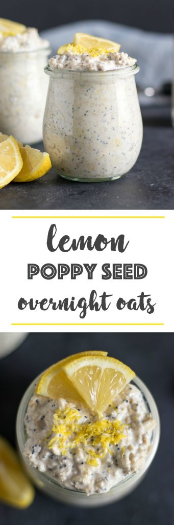 Lemon Poppy Seed Overnight Oats. Your favorite muffin in oatmeal form! Prep breakfast with rolled oats, fresh lemon and poppy seeds tonight and have breakfast ready in the morning! #overnightoats #lemonpoppyseed #oatmeal #mealprep #breakfast #breakfastrecipes #simplerecipe #oats