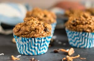 Sweet Potato Morning Glory Muffins. Rise and shine with these fluffy moist muffins packed with carrots, coconut, raisins and pecans--plus sweet potato! Breakfast of champs. #muffins #sweetpotato #morningglory #baking #breakfastrecipe #morningglorymuffin #sweetpotatoes