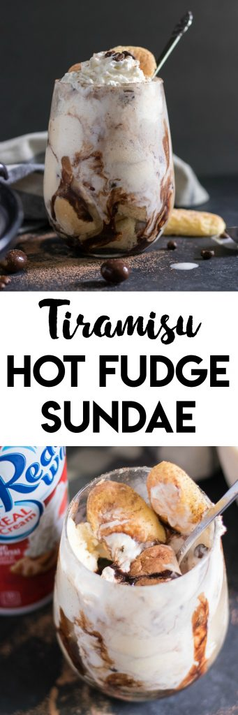 Ladyfingers, espresso infused hot fudge, vanilla ice cream and whipped cream--oh my! This Tiramisu Hot Fudge Sundae is going to be the perfect sundae to kick off your summer! #ad #MySummerSweets #reddiwip #bluebunny #sofab #sundae #tiramisu