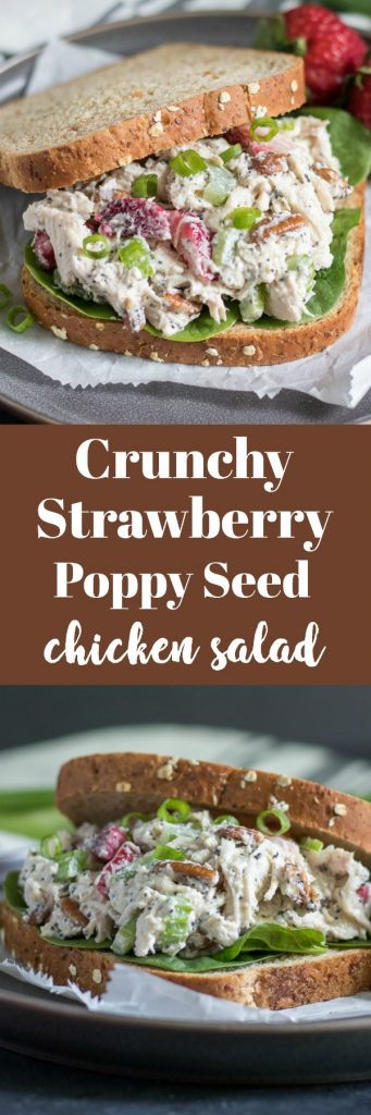 Crunchy Strawberry Poppy Seed Chicken Salad. Enjoy berry season with this crunchy chicken salad packed with strawberries, celery, pecans and more. Take your boring chicken salad up a notch! #chickensalad #summersalad #recipe #chicken #leftovers #berryseason #simplerecipe