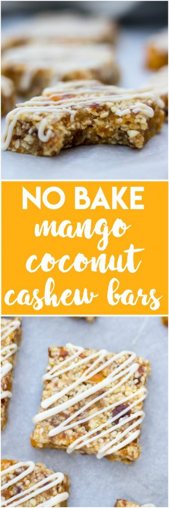 Ready to snack? These easy, healthy Mango Coconut Cashew Bars are no bake and ready in no time. Plus the white chocolate drizzle makes this recipe extra fancy! #larabar #cashewbar #nobake #nobakerecipe #snacking #snackrecipe