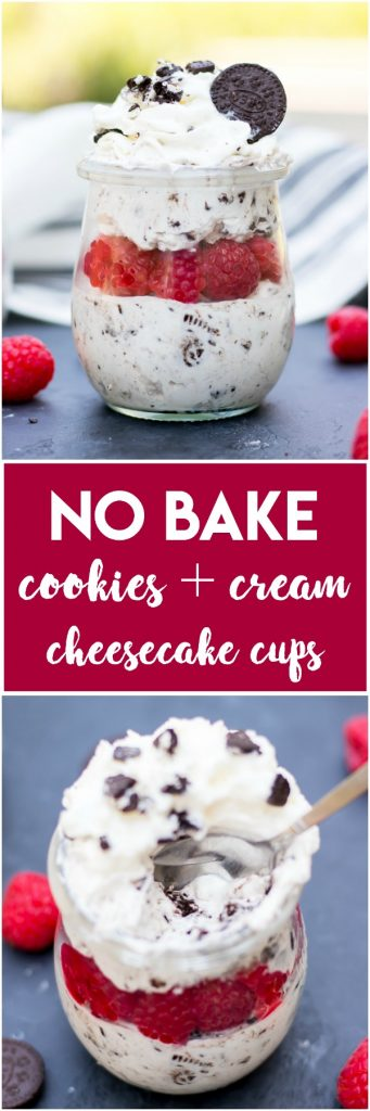 No Bake Cookies and Cream Cheesecake Cups.