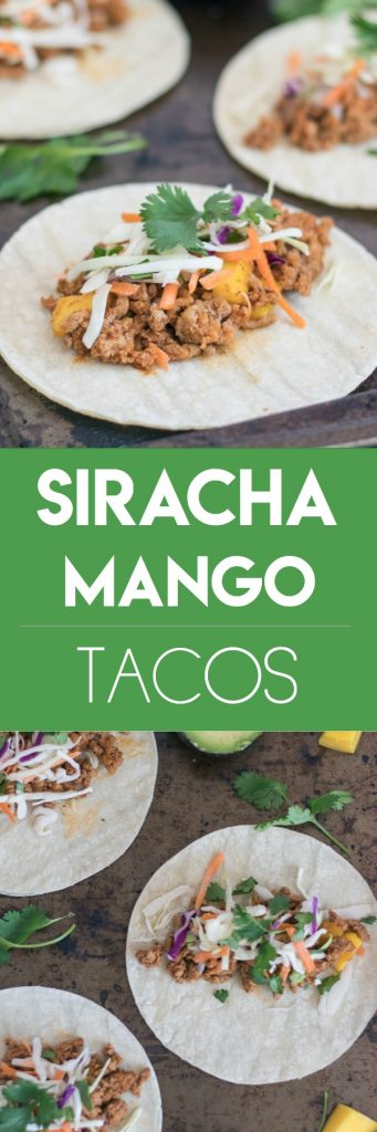 Siracha Mango Tacos. Need an easy dinner recipe that isn't the same old? These turkey tacos are a quick way to shake things up for dinner. #tacos #siracha #easyrecipe #dinnerrecipe #mango #simpledinner #recipe #turkeytacos