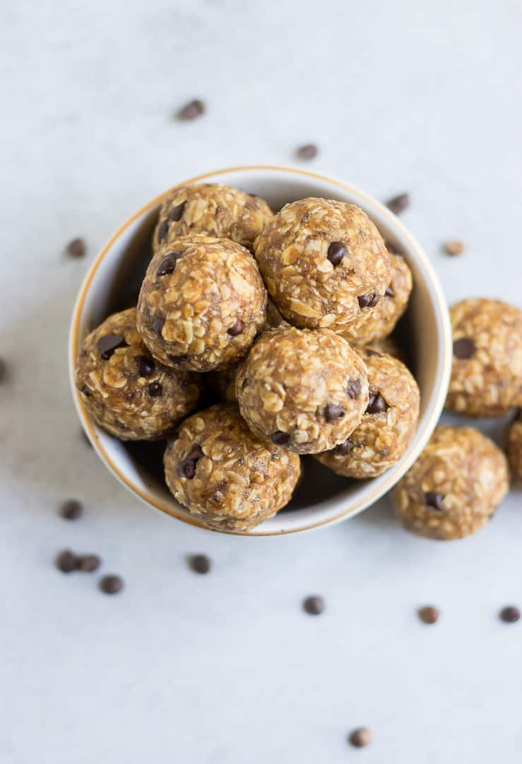 Overhead view of banana oatmeal balls with chocolate chips.