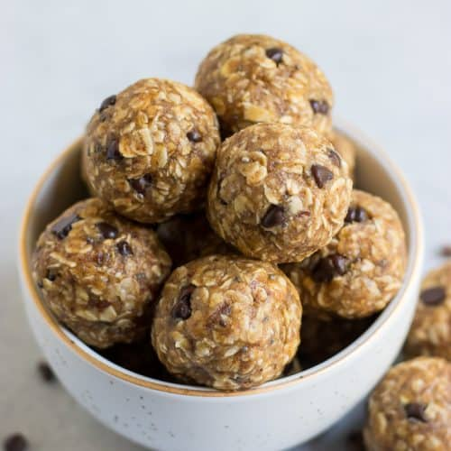 Peanut butter banana bites with oatmeal.