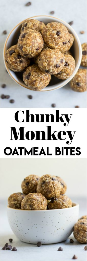 These Chunky Monkey Oatmeal Bites are the perfect peanut butter snack for when you have ripe bananas to use up. These simple oat bites won't last long though! #snackrecipe #oatmeal #oatmealbites #energybites #easyrecipe