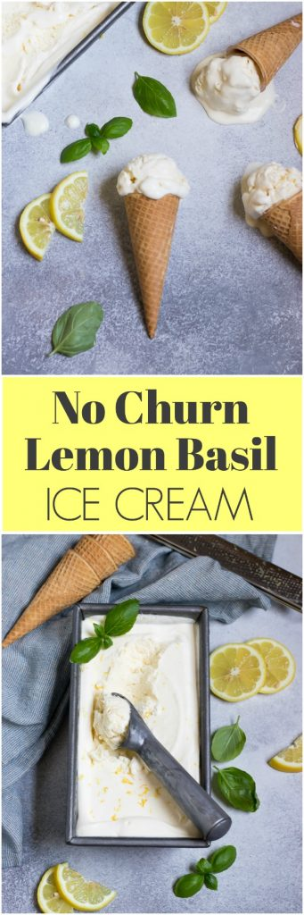 No ice cream maker? No problem! No churn ice cream is so easy to make and this no churn lemon basil ice cream is a combo you will be so amazed by--the lemon and basil really compliment each other in this creamy treat! #nochurn #icecream #homemade #basil #summertreats