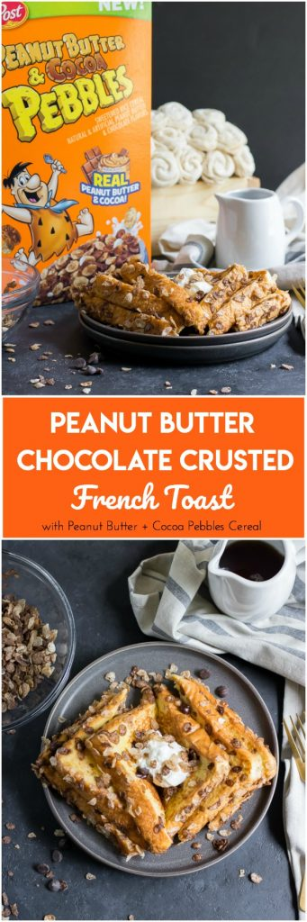 Peanut Butter Chocolate Crusted French Toast #ad Wake up this morning to a fun new cereal in this simple french toast recipe! Peanut butter and chocolate please! #collectivebias #summertimetasty