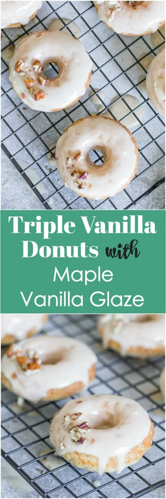 Triple Vanilla Donuts with Maple Vanilla Glaze. This easy homemade baked donut recipe is packed with vanilla flavor that everyone will love. Maple glazed and fresh from the oven, perfect for breakfast and even dessert! #donuts #bakeddonuts #breakfast #bake #easyrecipe