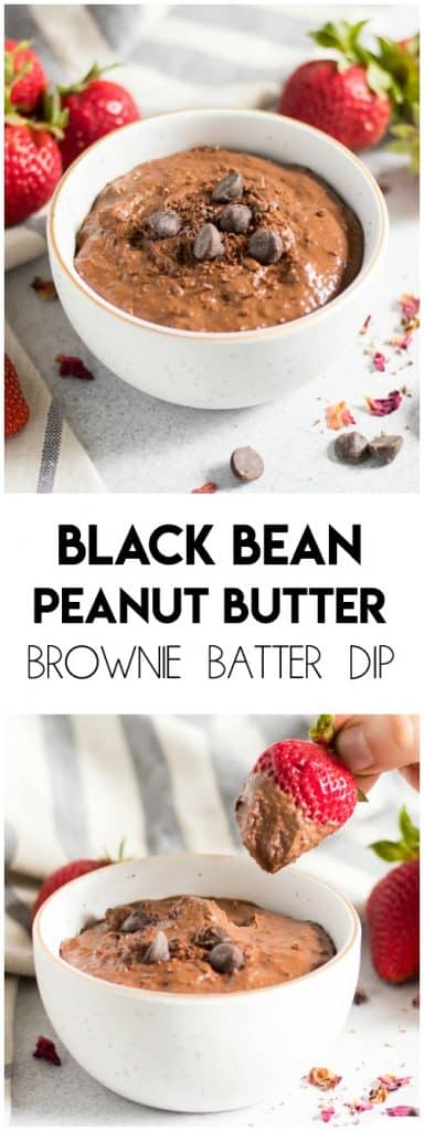 Smooth, rich and creamy--you will never guess there are beans in this Black Bean Peanut Butter Brownie Batter Dip recipe. This chocolate snack is perfect for dipping or eating straight from the spoon! No baking required! #browniebatter #blackbeans #blackbeanbrownie #peanutbutter #dessert #sweettreat