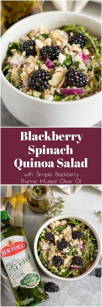 Fresh blackberries and thyme bring all the flavor in this simple Blackberry Spinach Quinoa Salad. Wow your guests by infusing flavors into your olive oil using Bertolli Extra Virgin Olive Oil for that perfect olive oil flavor. #ad #bertolli #oliveoil #salad #spinachsalad #infusedoliveoil