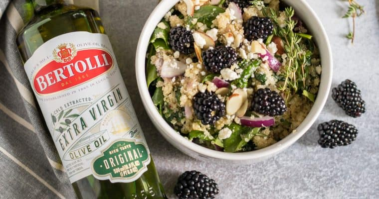 Simple Blackberry Spinach Quinoa Salad with Blackberry Thyme Infused Olive Oil